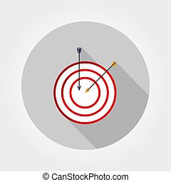 Target with an arrow. Icon. Vector. Flat.
