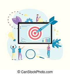 Target with an arrow on desktop, hit the target, goal achievement. Business concept vector illustration