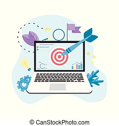 Target with an arrow on laptop, hit the target, goal achievement. Business concept vector illustration