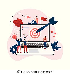 Target with an arrow on monitor, hit the target, goal achievement. Business concept vector illustration