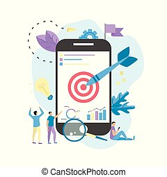 Target with an arrow on smartphone, hit the target, goal achievement. Business concept vector illustration