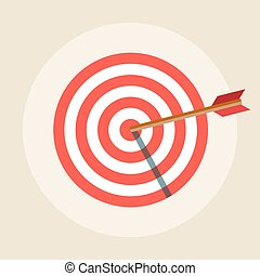 Target with an arrow vector icon in a flat style.