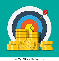 Target with arrow and pile of gold coins.