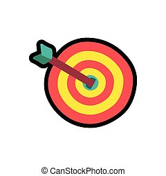 Target with arrow cartoon color illustration