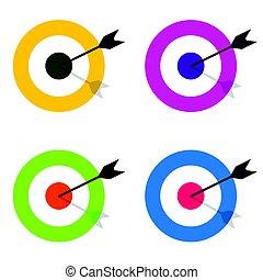 target with arrow center set illustration