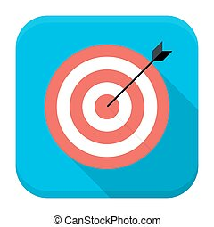 Vector illustration of game target with arrow. Flat app square icon with long shadow.