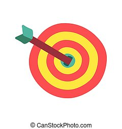 Target with arrow flat color illustration