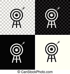 Target with arrow icon isolated on black, white and transparent background. Dart board sign. Archery board icon. Dartboard sign. Business goal concept. Vector Illustration