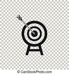 Target with arrow icon isolated on transparent background. Dart board sign. Archery board icon. Dartboard sign. Business goal concept. Flat design. Vector Illustration