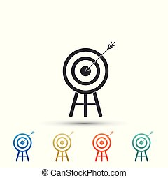 Target with arrow icon isolated on white background. Dart board sign. Archery board icon. Dartboard sign. Business goal concept. Set elements in color icons. Vector Illustration