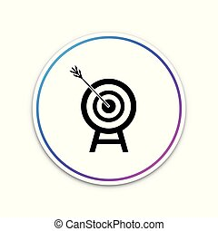 Target with arrow icon isolated on white background. Dart board sign. Archery board icon. Dartboard sign. Business goal concept. Circle white button. Vector Illustration