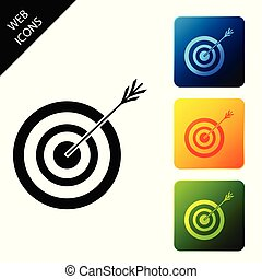 Target with arrow icon isolated on white background. Dart board sign. Archery board icon. Dartboard sign. Business goal concept. Set icons colorful square buttons. Vector Illustration