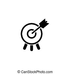 Target with Arrow in Bullseye Flat Vector Icon