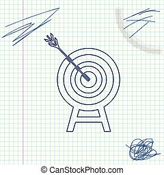 Target with arrow line sketch icon isolated on white background. Dart board sign. Archery board icon. Dartboard sign. Business goal concept. Vector Illustration