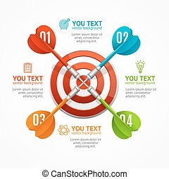 Target with Arrow Menu Infographic Option Banner Card. Vector
