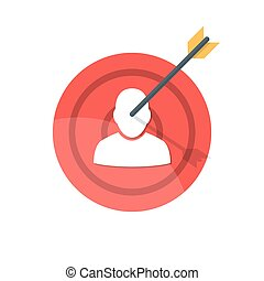 Target with arrow. Silhouette of a man on a target attached by an arrow. The concept of hitting a target or destroying a competitor. Premium quality vector illustration isolated on white background.