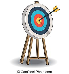 Target with arrow, standing on a tripod. Goal achieve concept.