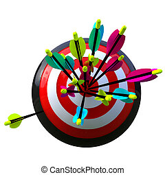 target with arrows and a failure - 3D simulation of a ball ...