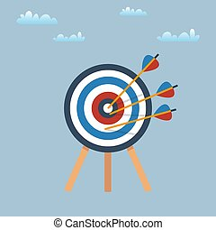 Target with arrows, standing on a tripod. Vector illustration