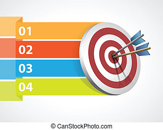 Target with arrows with graphic informations - Vector...