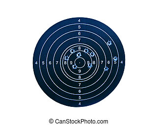 Shooting mark with bullet holes isolated on white background