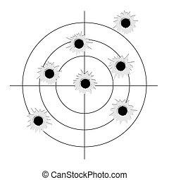 Target with bullet holes. Vector aim bullet hole mark sign