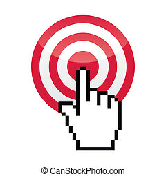 Red glossy target with pixelated hand clicking on it isolated on white