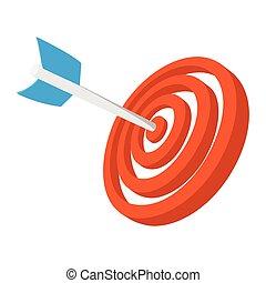 Target with dart cartoon icon. Orange and blue symbol...