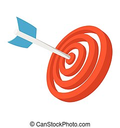 Target with dart cartoon icon. Orange and blue symbol...