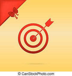 Target with dart. Cristmas design red icon on gold background.