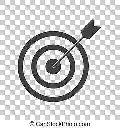 Target with dart. Dark gray icon on transparent background.
