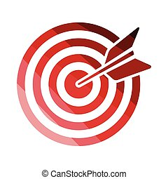 Target with dart in bulleye icon. Flat color design. Vector...