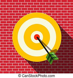 Target with Dart in the Center. Vector Bullseye on Wall.