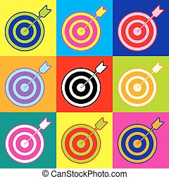 Target with dart. Pop-art style colorful icons set with 3 ...