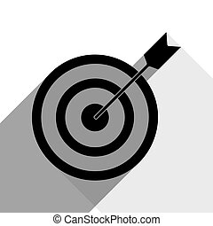 Target with dart. Vector. Black icon with two flat gray shadows on white background.