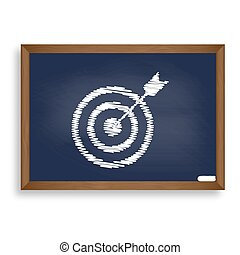 Target with dart. White chalk icon on blue school board with...