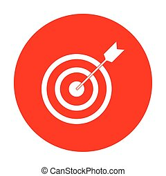 Target with dart. White icon on red circle.
