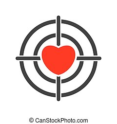 Target with heart icon isolated on white background