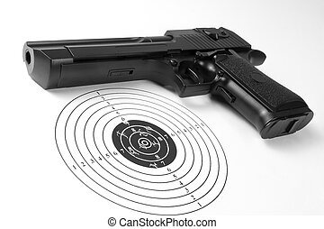 Target with holes and gun
