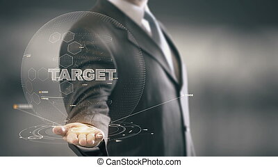 Target with hologram businessman concept