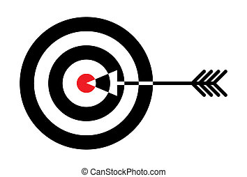 Target with red centre and arrow in the middle - illustration