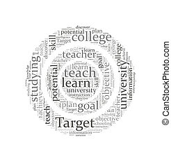 Target word cloud, education concept background