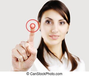 Target - Young business woman pointing at something on ...