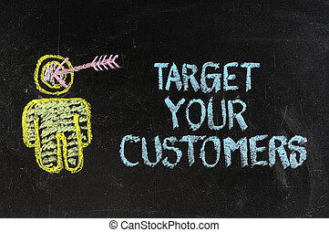 'Target your customers' concept made with white chalk on a blackboard.