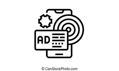 targeted advertising animated black icon. targeted advertising sign. isolated on white background