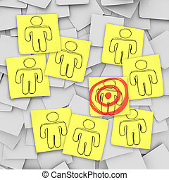 Targeted Customer in Bulls-Eye - Sticky Notes - A targeted...
