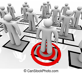 Targeted Employee in Organizational Chart - A red target...