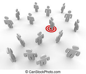 One figure is targeted in a sparse crowd, symboliziong targeted marketing techniques