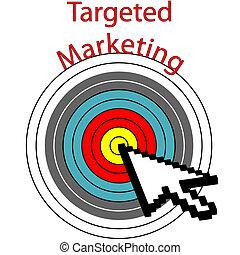 Targeted Marketing pixel cursor clicks bulls eye