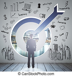Targeting concept businessman - Targeting concept with...